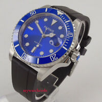 40mm Parnis blue dial Miyota automatic mens watch rubber strap ceramic bezel 653