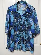 Ladies Blouse 3/4 sleeved frilled buttoned floral size 18