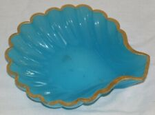 Very Elegant Antique French Blue Opaline Shell Shaped Dish.