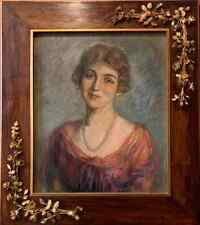 English School 1920's Portrait of English Society Lady Framed Oil Painting Canva