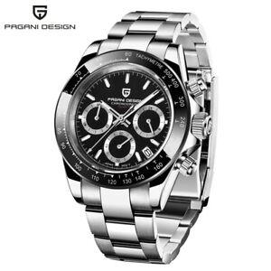 PAGANI DESIGN Japan VK63 Quartz Men Business Wristwatch Stainless Steel Bracelet