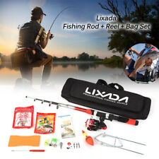 2.1m Telescopic Fiberglass Fishing Rod and Reel Set Spinning Baits Hooks Bag Kit