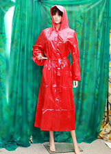 Lady's Shiny Red PVC vynal Raincoat hooded mackintosh fettish T/V slocky size Md