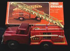 Vintage Friction Tin Toy Fire Truck w/ Siren 100% Complete + Original Box MF-163