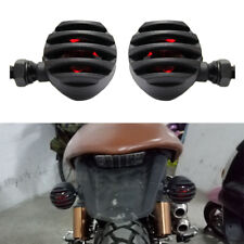 2x Black Motorcycle Small Turn Signal Lights Red For 10mm Bobber Chopper Custom