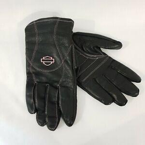 Harley-Davidson Women's Pink Label Full Finger Leather Gloves, Size L
