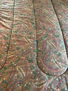 Ralph Lauren Rue Des Artistes Full/Queen Comforter Brown/Red/Green Paisley EUC