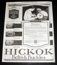 1922 OLD MAGAZINE PRINT AD, HICKOK BELTS & BUCKLES, MASTERPIECES OF BELT ART!