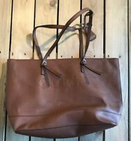 Guess Women's Purse With Inside Zipper Brown Leather Tote Bag EUC! C3