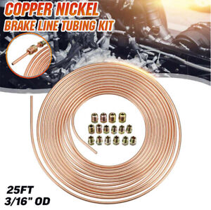 "Copper Nickel Fuel/Brake Pipe Hose Line 25′ Diameter 3/16"" 1 Roll w/Fitting Kit"