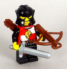 LEGO Castle - Black Lion Knight Minifigure with Short Sword Quiver Crossbow NEW