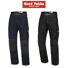 Mens Hard Yakka Legends Denim Work Jeans Cargo Pants Heavy Duty Cordura Y03041