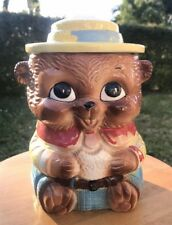 Vintage Brown Bear Cookie Jar 1950's Kitsch Ceramic Teddy Bear with yellow Hat