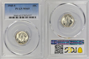 1945-S PCGS MS65 UNCIRCULATED SILVER WINGED LIBERTY 'MERCURY' DIME 10 !!!