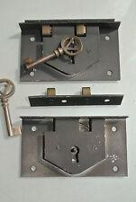 "2 old style BOX DOOR lock Antiques doors furniture & brass key 4"" locks recess"