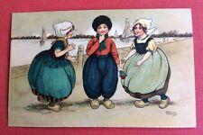 CPA. Illustrateur Florence HARDY. 1914. Trois Enfants Hollandais. Mer. Voiliers