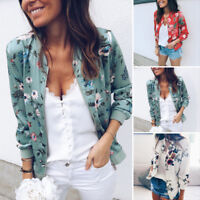 Women Coat Fashion Ladies Retro Floral Zipper Up Bomber Jacket Casual Coat Autum