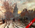 WESTMINSTER EMBANKMENT LONDON OLD ENGLAND BRITISH ART REAL CANVAS PAINTING PRINT