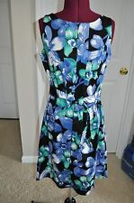 Super Cute!! KIM ROGERS Multi-Color Floral Sleeveless Dress for Work Size M