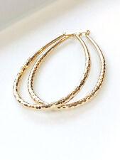 Women's Medium Real Gold Plated Oval Hoop Earrings, Medium Oval Hoops