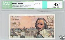 FRANCE 1000 FRANCS RICHELIEU 1-7-1954 ALPHABET J.47 N° 14580 PICK 134a ICG 48 EF
