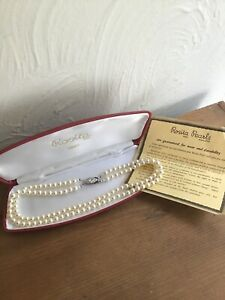 ROSITA SIMULATED 2 STRAND PEARL NECKLACE ,PLATED CLASP, BOXED  Approx 43cm