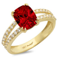 Details about  /2.25 ct RD Ruby Stone Promise Bridal Wedding Designer Ring 14k Yellow Gold