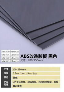 Manwah Black ABS Sheets Plastic Plate Board (200 x 250 x 2.0mm, 1pc)