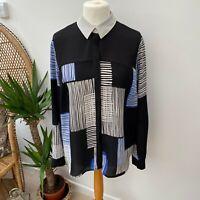 NEXT Blue & Black Block Pattern Shirt Business Blogger Smart Casual Sz 18