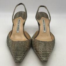 5a60ad8bdc7ac Manolo Blahnik Grey & Brown Snakeskin Slingback Heels Size 7