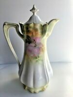 ANTIQUE HAND PAINTED RS PRUSSIA PORCELAIN CHOLOLATE POT PITCHER