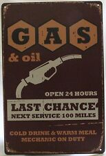 20x30cm GAS & oil SERVICE MECHANIC ON DUTY Old World Style Metal Sign NEW garage