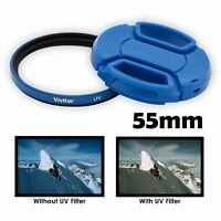 Vivitar 55mm UV Filter and Snap-On Lens Cap, BLUE