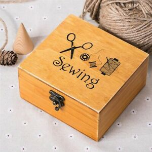 Wooden Sewing Box Supplies Kit Work Box for Mending Durable Sewing Storage Box