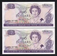NEW ZEALAND P-170c. (1989-91) $2 - Brash..  Last Prefix EPN.. UNC - CONSEC Pair