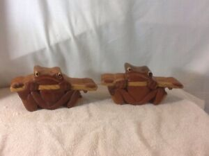 Set of 2 FROGS Wooden Puzzle Box Decorative Jewelry Box Made In Vietnam pre-own