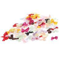 100Pcs Satin Ribbon Bows Flower Wedding Decoration Gift Craft DIY Hair Accessory