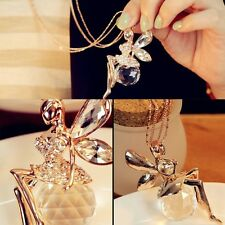 Long Chain For Angel High-grade Women Sweater Necklace Crystal Wings Jewelry