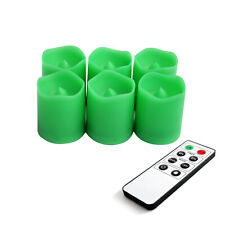 EcoGecko Indoor/Outdoor Remote Controlled Votive Flameless LED Candles, Green