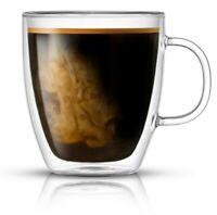 JoyJolt Savor Double Wall Glass Coffee Mug (Set of 2) 13.5 oz Insulated Mug