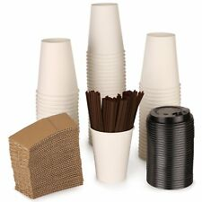Paper coffee Hot cups with lids, straws and sleeves 12 oz Set of 100 --TRY ME--