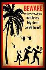 *FALLING COCONUTS* MADE IN USA! METAL SIGN 8X12 LUAU TIKI BAR BEACH HOT TUB