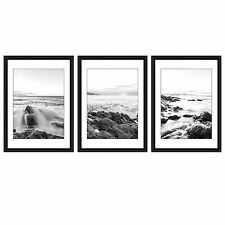 black and white framed glazed prints x 3 scenic ocean rocks sea beach pictures
