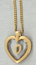 Buchstabe D - Goldkette pl und Anhänger Herz - Kristallherz Panzerkette Gold pl