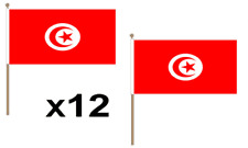 Tunisia Waving Hand Flag 12 Pack Decoration Tunisian National Africa African