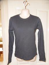 Gris Skinny Fit Señoras de manga larga camiseta pequeña, gris pizarra Pesado Algodón Camiseta