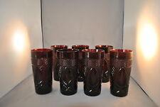 JG DURAND CRISTAL D'ARQUES ANTIQUE RED TEA TUMBLERS SET OF 7