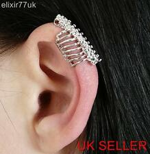SILVER CATERPILLAR EAR CUFF CLIP-ON WRAP CARTILAGE UPPER HELIX EMO PUNK GOTH UK
