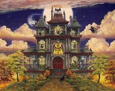 Folk Art HALLOWEEN PRINT Ghostly Manor Haunted House Witch Ghost  Bat Cat