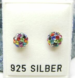 NEU 925 Silber 6mm OHRSTECKER 2mm SWAROVSKI STEINE multicolor KUGEL OHRRINGE